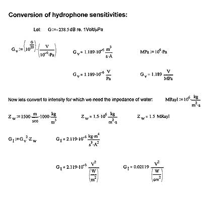 Conversion of hydrophone sensitivities formulas